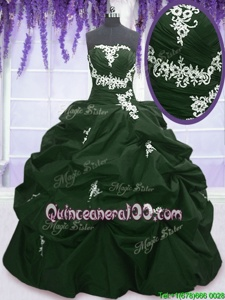 Custom Made Pick Ups Floor Length Dark Green and Peacock Green Quinceanera Dress Strapless Sleeveless Lace Up