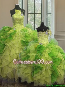 Exquisite Multi-color Strapless Neckline Beading and Ruffles 15th Birthday Dress Sleeveless Lace Up