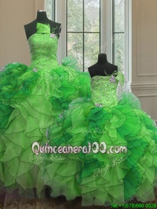 Pretty Strapless Sleeveless Quinceanera Dress Floor Length Beading and Ruffles Green Organza