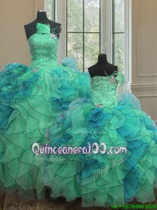 New Style Sweetheart Sleeveless Organza Vestidos de Quinceanera Beading and Ruffles Lace Up
