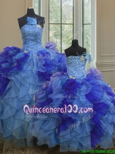 Modest Multi-color Sleeveless Organza Lace Up Quinceanera Dress forMilitary Ball and Sweet 16 and Quinceanera