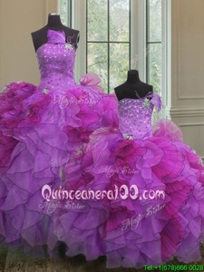 Sexy Organza Strapless Sleeveless Lace Up Beading and Ruffles Quinceanera Dress inMulti-color