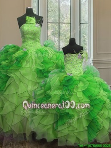 Custom Made Strapless Sleeveless Organza 15th Birthday Dress Beading and Ruffles Lace Up