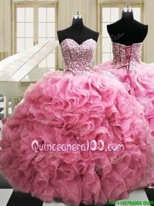 Unique Floor Length Rose Pink Ball Gown Prom Dress Organza Sleeveless Spring and Summer and Fall and Winter Beading and Ruffles