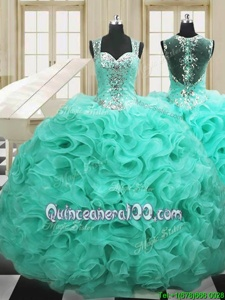 Perfect Apple Green Ball Gowns Straps Sleeveless Organza Floor Length Lace Up Beading and Ruffles 15 Quinceanera Dress