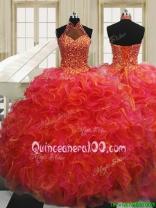 Flare Halter Top Sleeveless Organza Quinceanera Gown Beading and Ruffles Lace Up