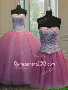 Three Piece Sweetheart Sleeveless Quinceanera Gown Floor Length Beading Rose Pink Organza
