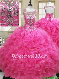 Sumptuous Ball Gowns Sweet 16 Quinceanera Dress Hot Pink Scoop Organza Sleeveless Floor Length Lace Up
