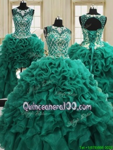 Modest Four Piece Scoop Dark Green Organza Lace Up Sweet 16 Quinceanera Dress Sleeveless Floor Length Beading and Ruffles