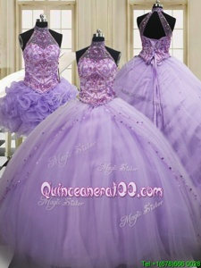 Sweet Three Piece Lavender Halter Top Neckline Sequins Quinceanera Dress Sleeveless Lace Up
