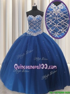 Navy Blue Sleeveless Beading and Sequins Floor Length Quinceanera Dresses