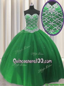 Fashion Green Lace Up Sweetheart Beading Quinceanera Gowns Tulle Sleeveless