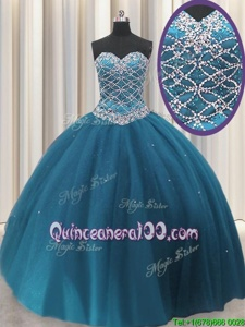 Perfect Teal Tulle Lace Up Sweetheart Sleeveless Floor Length Quinceanera Gown Beading and Sequins