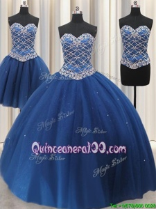Fashionable Three Piece Blue Quinceanera Dress Military Ball and Sweet 16 and Quinceanera and For withBeading and Sequins Sweetheart Sleeveless Lace Up