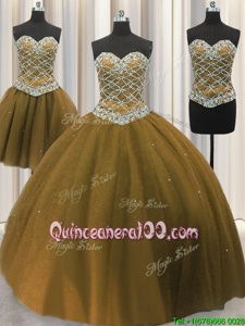 Flare Three Piece Sweetheart Sleeveless Sweet 16 Dresses Floor Length Beading and Sequins Brown Tulle