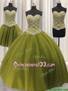 Dramatic Three Piece Tulle Sweetheart Sleeveless Lace Up Beading and Sequins Quince Ball Gowns inOlive Green