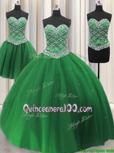 Fine Three Piece Sleeveless Floor Length Beading and Sequins Lace Up 15 Quinceanera Dress with Green