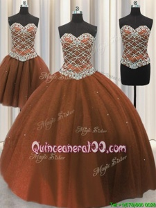 Super Three Piece Brown Ball Gowns Beading and Sequins Quinceanera Gown Lace Up Tulle Sleeveless Floor Length