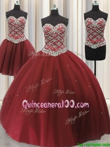 Luxurious Three Piece Sequins Sweetheart Sleeveless Lace Up Sweet 16 Dress Burgundy Tulle