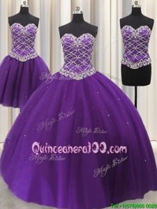 High Class Three Piece Sleeveless Beading and Sequins Lace Up Quinceanera Dress