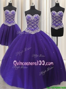 Classical Three Piece Purple Sleeveless Floor Length Beading and Sequins Lace Up Quinceanera Gown