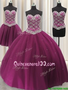 Three Piece Fuchsia Lace Up Sweetheart Beading and Sequins Quinceanera Dress Tulle Sleeveless