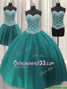 Popular Three Piece Teal Ball Gowns Tulle Sweetheart Sleeveless Beading and Sequins Floor Length Lace Up Quinceanera Dress