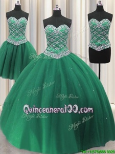 Dazzling Three Piece Floor Length Green Quinceanera Gown Sweetheart Sleeveless Lace Up