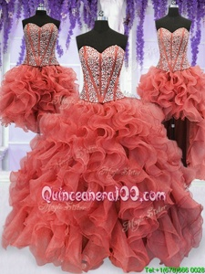 High End Four Piece Coral Red Ball Gowns Sweetheart Sleeveless Organza Floor Length Lace Up Beading and Ruffles Quince Ball Gowns