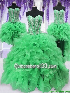 Dramatic Four Piece Green Ball Gowns Organza Sweetheart Sleeveless Beading and Ruffles Floor Length Lace Up Quinceanera Dress