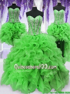 Deluxe Four Piece Sleeveless Floor Length Beading and Ruffles Lace Up 15 Quinceanera Dress with Spring Green
