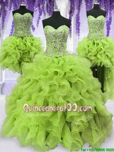 Smart Four Piece Yellow Green Sweetheart Lace Up Beading and Ruffles 15 Quinceanera Dress Sleeveless