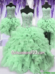 Modest Four Piece Sleeveless Lace Up Floor Length Beading and Ruffles Quinceanera Dresses