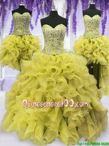 Glamorous Four Piece Floor Length Light Yellow Quinceanera Dress Organza Sleeveless Spring and Summer and Fall and Winter Beading and Ruffles