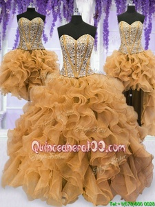 Artistic Four Piece Beading and Ruffles 15th Birthday Dress Gold Lace Up Sleeveless Floor Length
