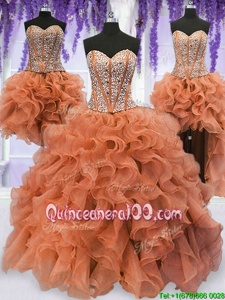Suitable Four Piece Organza Sweetheart Sleeveless Lace Up Beading and Ruffles Sweet 16 Quinceanera Dress inOrange