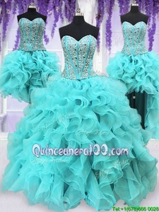 Sophisticated Four Piece Sequins Ball Gowns 15th Birthday Dress Aqua Blue Sweetheart Organza Sleeveless Floor Length Lace Up