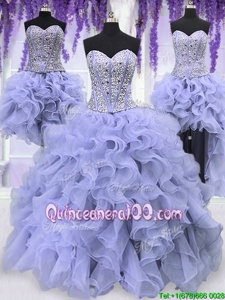 Modern Four Piece Ruffles and Sequins Quinceanera Gown Lavender Lace Up Sleeveless Floor Length