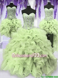 Adorable Four Piece Sequins Floor Length Yellow Green Ball Gown Prom Dress Sweetheart Sleeveless Lace Up