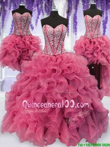 Discount Four Piece Pink Lace Up Sweetheart Ruffled Layers and Sequins Vestidos de Quinceanera Organza Sleeveless