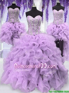 Eye-catching Four Piece Lavender Lace Up Vestidos de Quinceanera Ruffles and Sequins Sleeveless Floor Length