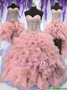 Low Price Four Piece Pink Sweetheart Neckline Ruffles and Sequins Quinceanera Dress Sleeveless Lace Up