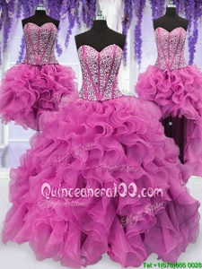 Fashion Four Piece Lilac Ball Gowns Organza Sweetheart Sleeveless Ruffles and Sequins Floor Length Lace Up Vestidos de Quinceanera