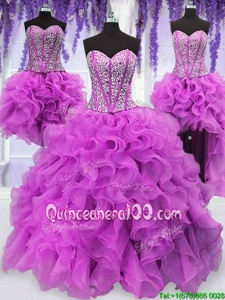 Sweet Four Piece Fuchsia Ball Gown Prom Dress Military Ball and Sweet 16 and Quinceanera and For withRuffles and Sequins Sweetheart Sleeveless Lace Up