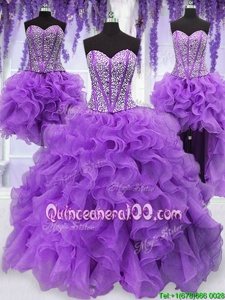 Dynamic Four Piece Eggplant Purple Sweetheart Neckline Ruffles and Sequins Quinceanera Gowns Sleeveless Lace Up