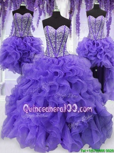 Four Piece Organza Sweetheart Sleeveless Lace Up Embroidery and Ruffles and Ruffled Layers and Sashes|ribbons Quinceanera Dress inLavender