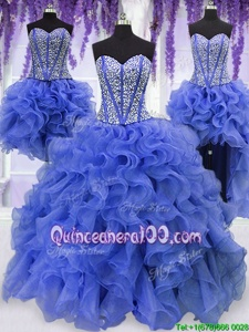 Customized Four Piece Floor Length Royal Blue Sweet 16 Dresses Organza Sleeveless Spring and Summer and Fall and Winter Ruffles and Sequins