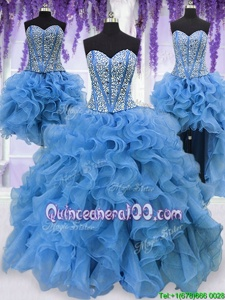 Dramatic Four Piece Blue Ball Gowns Ruffles and Sequins Quinceanera Dresses Lace Up Organza Sleeveless Floor Length