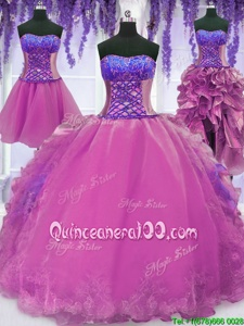 Custom Design Four Piece Sweetheart Sleeveless Lace Up Sweet 16 Dress Lilac Organza