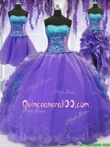 Elegant Four Piece Embroidery and Ruffles Quinceanera Dress Lavender Lace Up Sleeveless Floor Length
